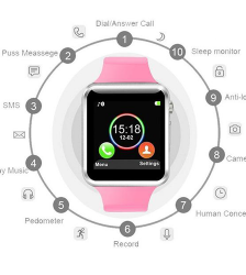 A1 Bluetooth Smart Watch- Pink