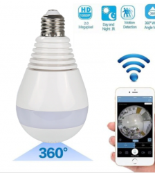 360 degrees panoramic cctv bulb ip wifi camera